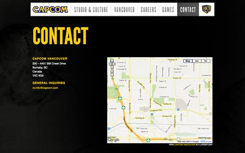 Screenshot of Contact Page capcomvancouver.com - Contact  |  Capcom Game Studio Vancouver - captured Oct. 1, 2014