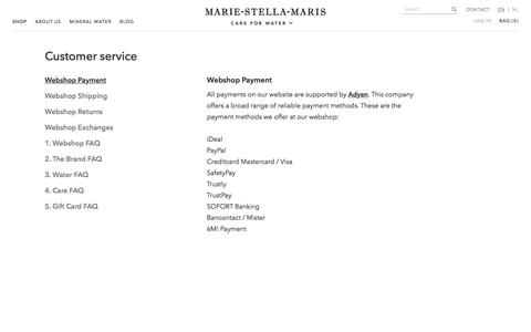 Screenshot of Support Page marie-stella-maris.com - Payment at Marie-Stella-Maris - captured May 26, 2017
