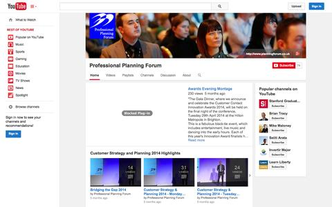 Screenshot of YouTube Page youtube.com - Professional Planning Forum  - YouTube - captured Nov. 2, 2014