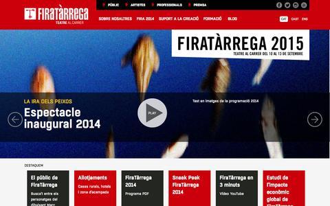 Screenshot of Home Page firatarrega.cat - FiraTàrrega - Teatre al carrer - captured Sept. 23, 2014