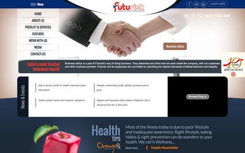 Screenshot of Menu Page futurisk.in - Futurisk - Best Insurance Broking Company India - captured Jan. 16, 2016