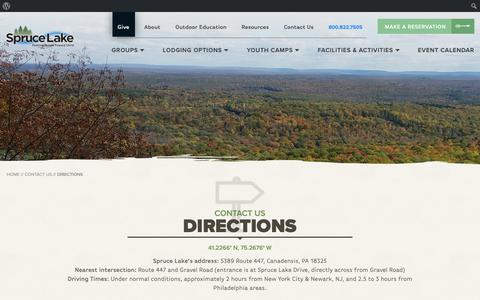 Screenshot of Maps & Directions Page sprucelake.org - Get Directions | Spruce Lake Retreat - captured Oct. 20, 2018