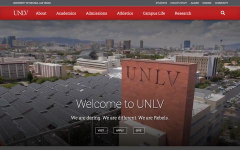 Screenshot of Home Page unlv.edu - University of Nevada, Las Vegas - captured Aug. 21, 2016