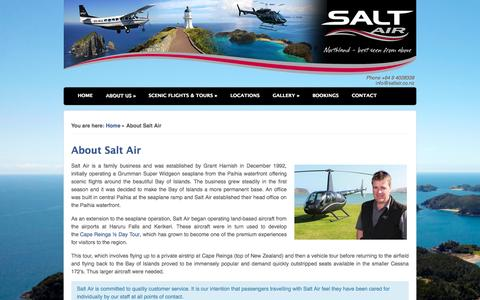Screenshot of About Page saltair.co.nz - Northland Scheduled Air Service and Scenic Flight Tour Operator - captured Sept. 30, 2014
