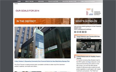 Screenshot of Home Page torontofinancialdistrict.com - Toronto Financial District   The Toronto Financial District Business Improvement Area - captured Oct. 1, 2014