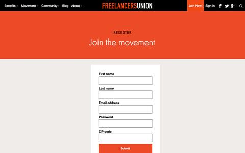 Screenshot of Signup Page freelancersunion.org - Join Freelancers Union – It's free. It's the future. - captured Sept. 19, 2014