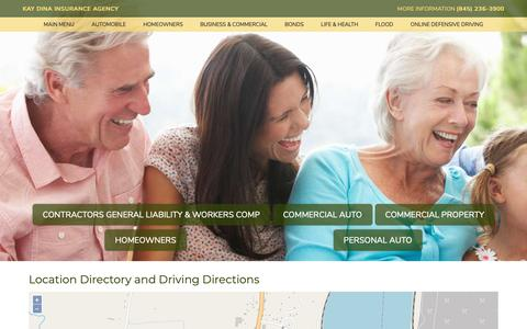 Screenshot of Locations Page kaydinainsurance.com - Kay Dina Insurance Agency Locations and Driving Directions - captured Nov. 15, 2018