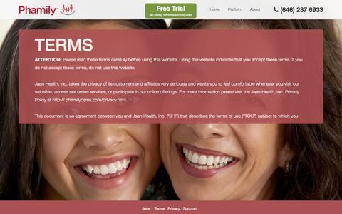 Screenshot of Terms Page phamilycares.com - Phamily - captured Oct. 2, 2014
