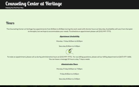 Screenshot of Hours Page counselingatheritage.com - Hours – Counseling Center at Heritage - captured Nov. 12, 2016