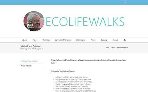 Screenshot of Press Page ecolifewalks.com - Holiday Press Release - captured May 14, 2017