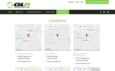 Screenshot of Locations Page go-glr.com - Locations - Roseville, Warren, Sterling Heights | GLR - captured Sept. 29, 2016