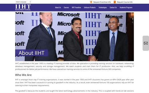 Screenshot of About Page iiht.net - Information Technology Courses | IT Training Courses | IIHT.net - captured Oct. 22, 2018