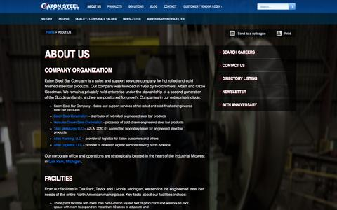 Screenshot of About Page eatonsteel.com - Special Bar Quality Steel Distributors | Eaton Steel Bar Company - captured Oct. 1, 2014