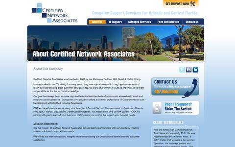 Screenshot of About Page cnaorlando.com - About Us | Certified Network Associates - captured Oct. 2, 2014