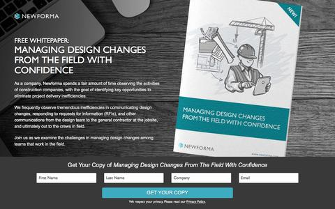 Screenshot of Landing Page newforma.com - Free Whitepaper: Managing Design Changes From The Field With Confidence - captured June 2, 2016