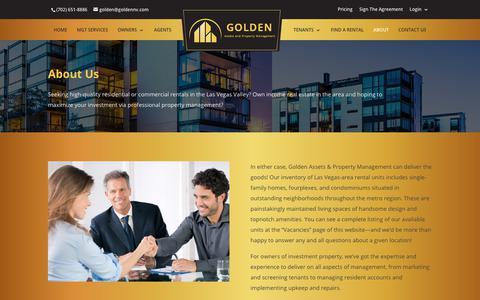 Screenshot of About Page lasvegaspropertymanager.com - Golden Assets and Property Management Las Vegas - About - captured Nov. 11, 2018