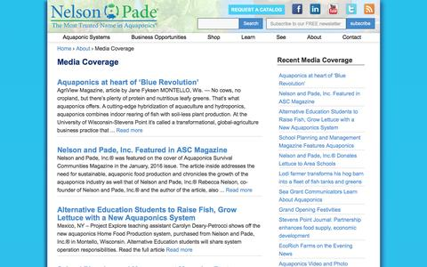 Screenshot of Press Page aquaponics.com - Media Coverage | Nelson & Pade, Inc. - captured Feb. 1, 2016