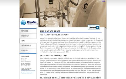 Screenshot of Team Page canambioresearch.com - Medicinal Chemistry Team - CanAm Bioresearch (Medicinal Chemistry CRO) - captured Oct. 18, 2016
