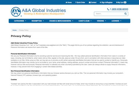Screenshot of Privacy Page aaglobal.com - A&A Global Industries, Inc. - captured July 1, 2017