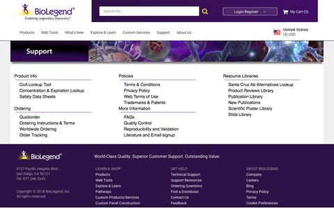 Screenshot of Support Page biolegend.com - BioLegend Support - captured June 13, 2018