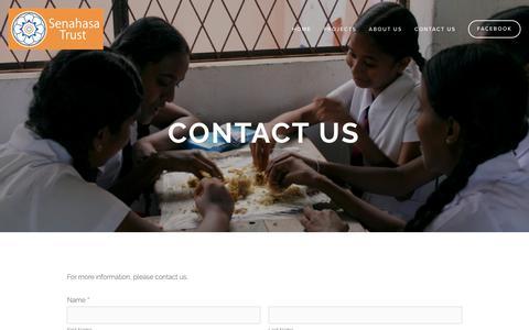 Screenshot of Contact Page senahasa.org - Contact Us — Senahasa Trust - Sri Lanka - captured Oct. 27, 2018