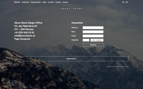 Screenshot of Contact Page aboutblank.ch - Contact | About Blank Design Office - captured Sept. 30, 2014