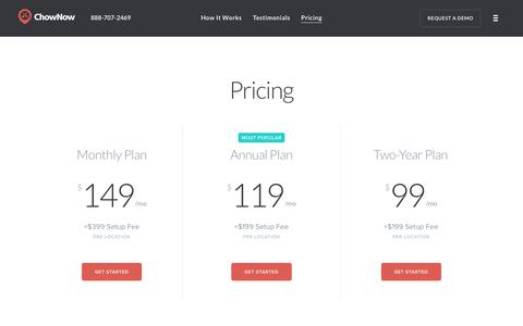 Screenshot of Pricing Page chownow.com - ChowNow | Online Ordering System Pricing & Information - captured June 1, 2018