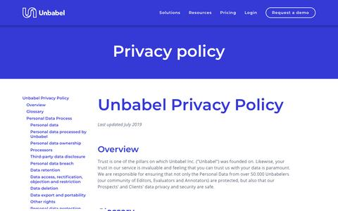 Screenshot of Privacy Page unbabel.com - Privacy Policy | Unbabel - captured Nov. 12, 2019