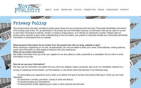 Screenshot of Privacy Page novelpublicity.com - Privacy Policy – Novel Publicity - captured Sept. 21, 2018