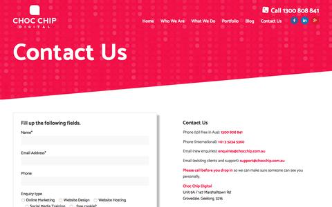 Screenshot of Contact Page chocchip.com.au - Contact Us - Choc Chip Digital - captured July 29, 2017