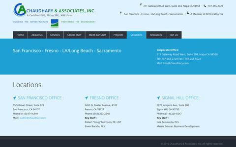 Screenshot of Locations Page chaudhary.com - Chaudhary & Associates, Inc. Napa CA - captured Jan. 27, 2016