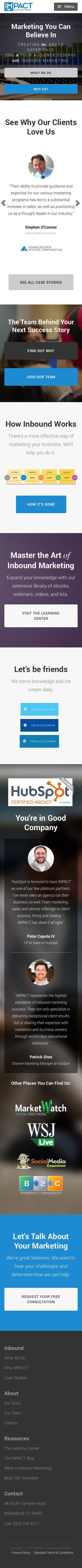 Screenshot of impactbnd.com - IMPACT | Inbound Marketing Agency - captured Nov. 26, 2014