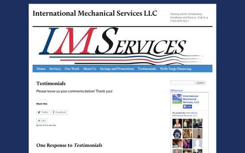 Screenshot of Testimonials Page wordpress.com - Testimonials | International Mechanical Services LLC - captured Sept. 12, 2014