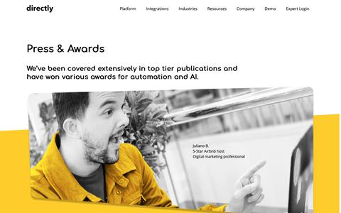 Screenshot of Press Page directly.com - Press & Awards | Support Automation | Directly - captured May 1, 2019