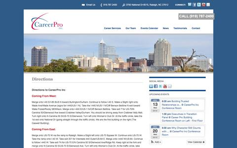 Screenshot of Maps & Directions Page careerproinc.com - Directions to CareerPro Inc Office LocationCareerPro Inc. | Career Management and Outplacement Services - captured July 11, 2016