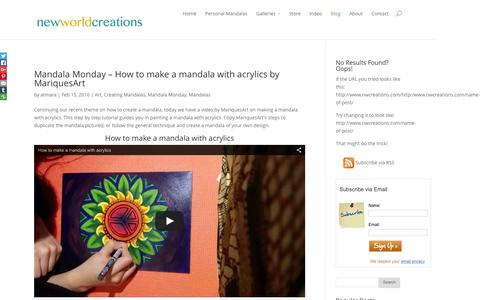 Screenshot of Blog nwcreations.com - New World Creations' Blog - Mandala Art, Video, and Inspiration - captured Feb. 18, 2016