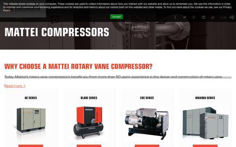Screenshot of Products Page matteicomp.com - Air Compresssors - Mattei - captured Oct. 18, 2018