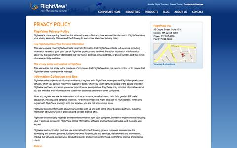Screenshot of Privacy Page flightview.com - FlightView Inc. - Privacy Policy - captured Sept. 18, 2014