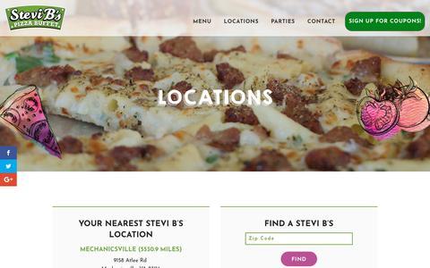 Screenshot of Locations Page stevibs.com - Locations - Stevi B's Pizza Buffet - captured Oct. 18, 2018