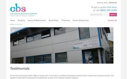 Screenshot of Testimonials Page commercebusinesssystems.co.uk - Testimonials : Commerce Business Systems - captured Nov. 10, 2016
