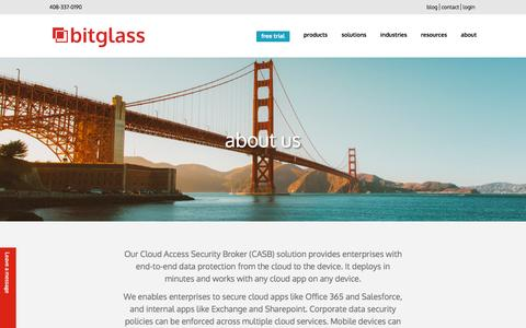 Screenshot of About Page bitglass.com - about us | bitglass - captured April 16, 2016