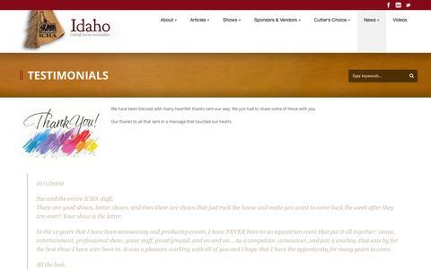 Screenshot of Testimonials Page idahocha.com - Idaho CHA   » Testimonials - captured Oct. 6, 2014