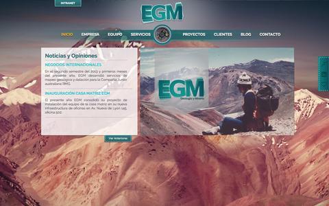 Screenshot of Home Page egm.cl - EGM - Geología y Minería - captured Oct. 1, 2014