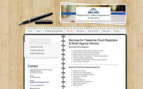 Screenshot of Services Page reportersmanagement.com - Support Services for Court Reporters and Court Reporting Agencies - captured Nov. 9, 2017