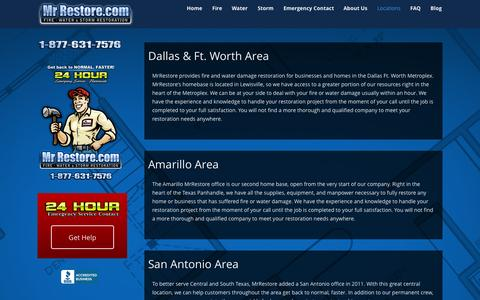 Screenshot of Locations Page mrrestore.com - Locations - MrRestore - captured Oct. 29, 2014
