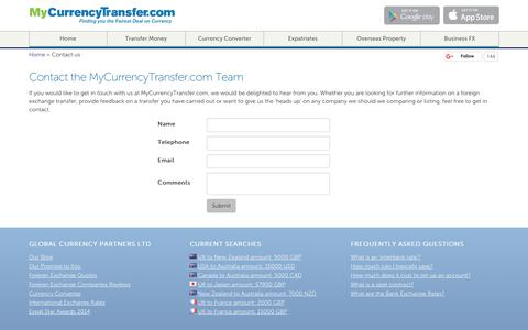 Screenshot of Contact Page mycurrencytransfer.com - Contact the MyCurrencyTransfer.com Team - captured Oct. 20, 2018