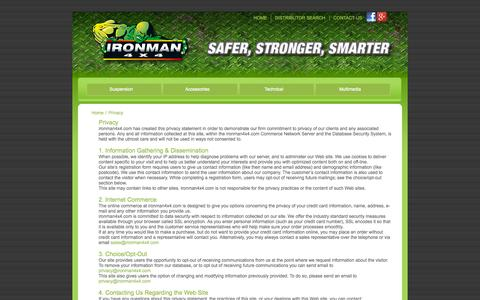 Screenshot of Privacy Page ironman4x4.com - Privacy - Ironman 4x4 - captured Sept. 19, 2014
