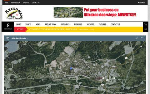 Screenshot of Maps & Directions Page atikokanprogress.ca - Map - Atikokan Progress and Printing - captured Dec. 27, 2015