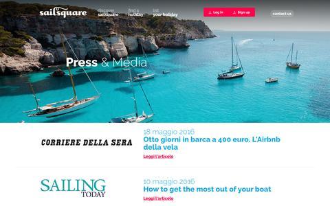 Screenshot of Press Page sailsquare.com - Press & Media - Sailsquare - captured Dec. 5, 2016