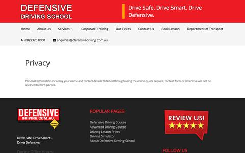Screenshot of Privacy Page defensivedriving.com.au - Privacy - Defensive Driving - captured Sept. 24, 2018
